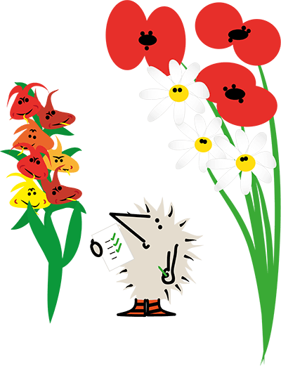 Henry the Hedgegnome children's books. Henry standing among flowers.